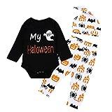 Baby Long Sleeve My Halloween Costume Kids, Ghost Pumpkin Printing + Colorful Pants Set N3