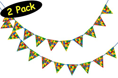 Building Blocks Party Banner Bunting Set of 2 for Bricks Party Decorations // Kids Birthday Party Banners // Includes assembly tool, 2 Pack -