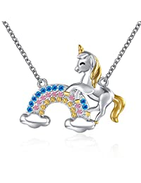 "Grecia Unicorn Necklace Lovely Animal Rainbow Pendent Necklace for Women, Jewelry Gift for Girls, Chain 18""+2.36"" Extender"