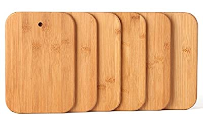 HTB 6 Piece Bamboo Cutting Board Sets with Stand Holder for Choppping Cheese, Sandwich, Fruit