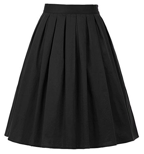 GRACE KARIN Women Pleated Retro Swing Skirts Black Size L - Lined Print Circles Dress