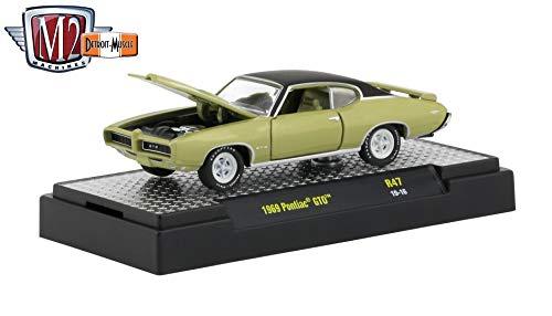 M2 Machines 1969 Pontiac GTO (Champagne Metallic) - Detroit Muscle Release 47 Castline 2019 Premium Edition 1:64 Scale Die-Cast Vehicle & Custom Display Base (R47 19-16)