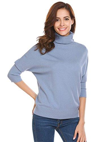 Turtleneck Flare (Vansop Women Casual Flare Sleeve Stretchy Line Knit Turtleneck Sweater(Grey L))