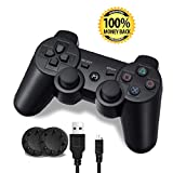 PS3 Controller, Wireless PS3 Controller Double Vibration Game Remote Control Joystick Joypad for PS3 with Charger Cable (1-Pack)