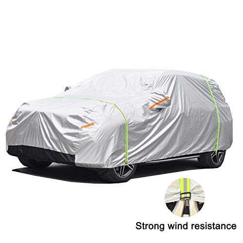 - GunHyi Windproof Car Covers Waterproof All Weather for Automobile, Snow Sun Rain UV Protective Outdoor, Fit SUV Jeep (Length 176-190 Inch)