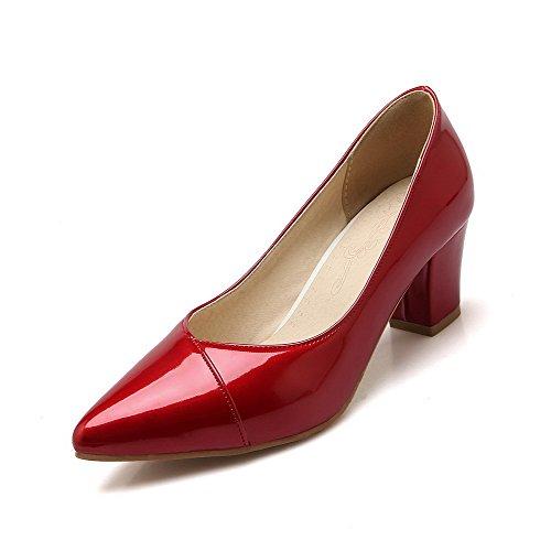 AllhqFashion Damen Spitz Zehe Mittler Absatz Ziehen auf Rein Pumps Schuhe Rot