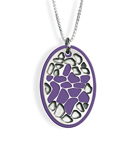 Mosaic Star of David Rhodium Plated Necklace with Purple Colorful Background (Mosaic Of David Star)