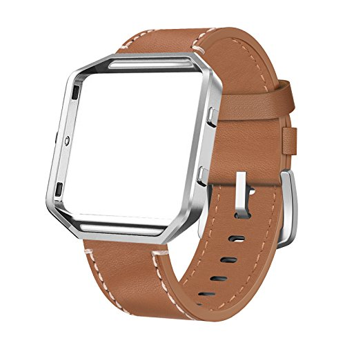 Leather Polished Frame - SWEES Leather Bands Compatible with Blaze Smart Watch, Genuine Leather Replacement Band with Metal Frame Small & Large for Women Men, Champagne Gold, Rose Gold, Black, Brown, White, Grey, Beige