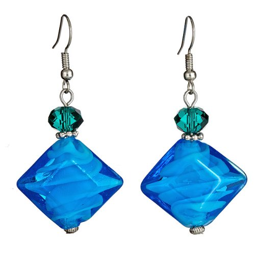 "Venetian Blown Glass - Lova Jewelry ""Cobalt Crystals"" Hand-Blown Venetian Murano Glass Drop Earrings"