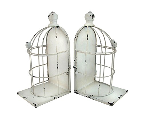 Metal Decorative Bookends Distressed White Enamel Finish Book Ends