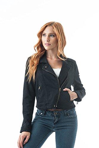 Khanomak Women's Denim Asymmetrical Moto Zip Up Fray Hem Jacket (Small, Black) ()