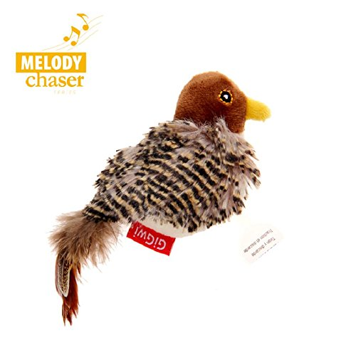 (Gigwi Chirping Bird Cat Toy, Interactive Cat Squeak Toy Melody Chaser Bird &Toys for Cats to Play Alone, Play N Squeak Kitten Toy for Boredom)
