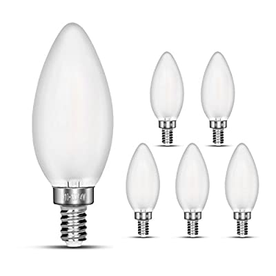 LED bulb 40W equivalent frosted glass cover, eye protection radiation protection E12 base energy star ETL listed Non - dimmable (6 packs)