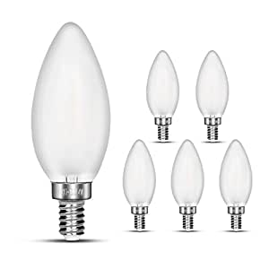 NOTOC E12 LED Candelabra Bulbs, 40W Incandescent Equivalent, 4W Filament Candle Light Bulbs, 2700K Warm White, 400LM, E12 Base , Frosted Glass Cover, C35 Torpedo Shape Bullet Top, 6 Pack