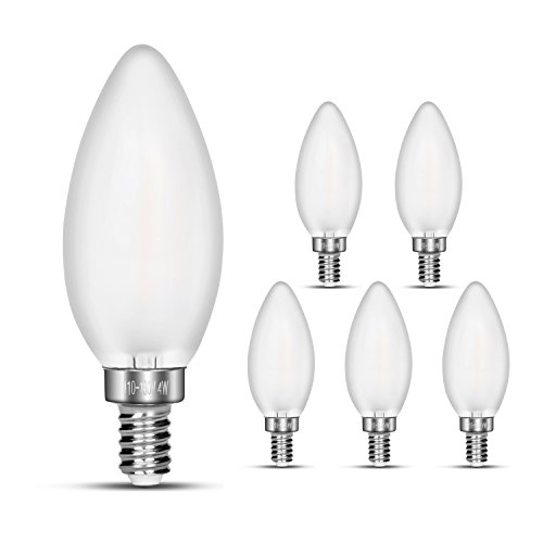NOTOC E12 LED Candelabra Bulbs, 40W Incandescent Equivalent, 4W Filament Candle Light Bulbs, 2700K Warm White, 400LM, E12 Base , Frosted Glass Cover, C35 Torpedo Shape Bullet Top, 6 - Shops Show Fashion At Mall