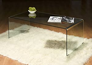 Marvelous LONG CLEAR BENT GLASS COFFEE TABLE