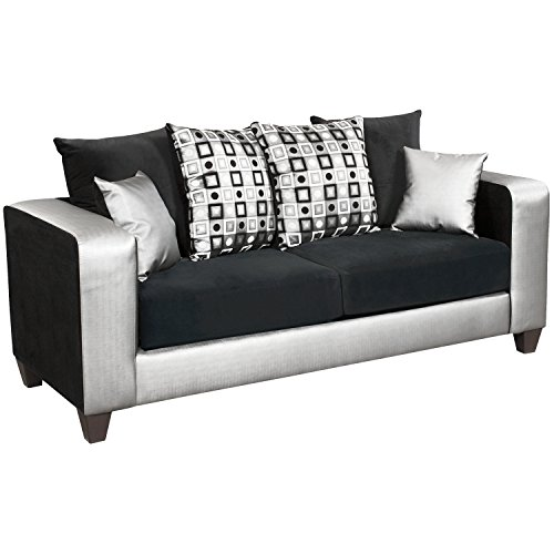 Flash Furniture RS-4120-06S-GG Riverstone Implosion Velvet Sofa, Black