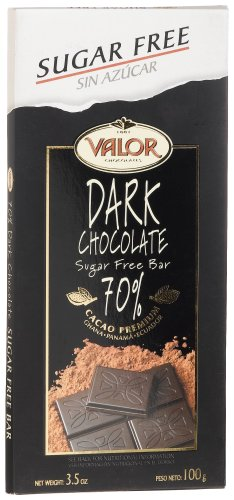 Valor Sugar Free 70% Dark Chocolate, 3.5-Ounce Bars (Pack of 17) by Valor (Image #1)