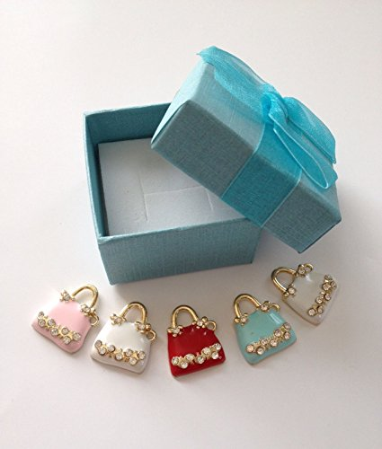 Lots of 5 pcs Charm Pendants Craft Design Purse Gold-Plated Charms Locket Pendant Bead Beading Making Jewelry Findings Box Necklace Gift, A Small Gift Box containing 5 charms (New Hampshire Halloween 2017)