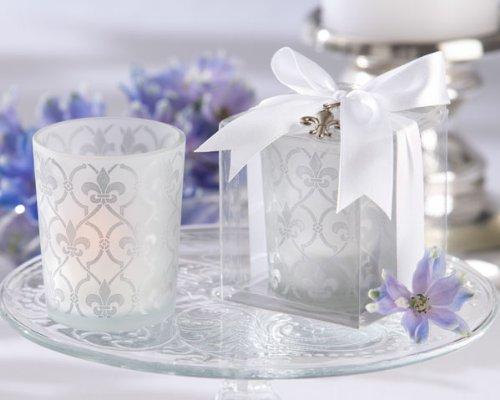 "72 ""Fleur-de-lis"" Frosted-Glass Tea Light Holders"