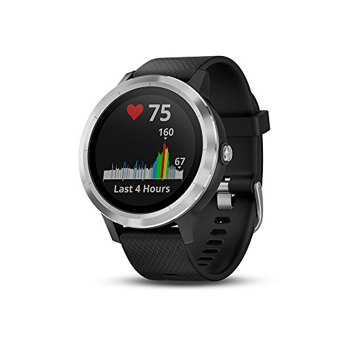 Garmin Vivoactive 3 - Montre Connectée de Sport avec GPS et Cardio Poignet - Argent avec Bracelet Blanc Argent avec bracelet Noir