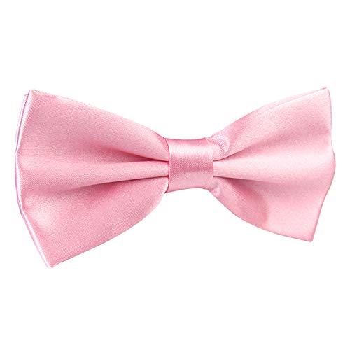 Alizeal Men's Pre-Tied Adjustable Length Solid Color Tuxedo Bow Tie, Light Pink