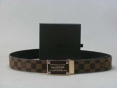 Fashion Belt Brown Belt with Square Golden belt buckle(115CM)