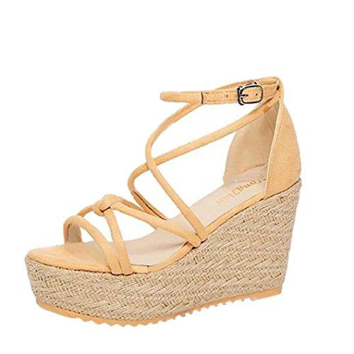 Jamicy Women Elegant Strap Summer Wedge Platform High Heel Sandals Beige