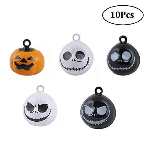Stock Show 10Pcs/Pack Pumpkin Bells Pet Collar Charm Bells Ghost Skull Bells Home Party Halloween Decoration Clothes Jewelry Pendants DIY Crafts Handmade Accessories, Mix -