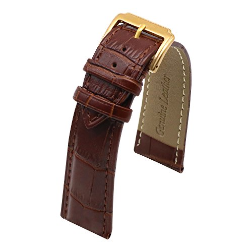 AUTULET Genuine Leather Padded Watch Band for Dress Dark Brown (17mm Band)