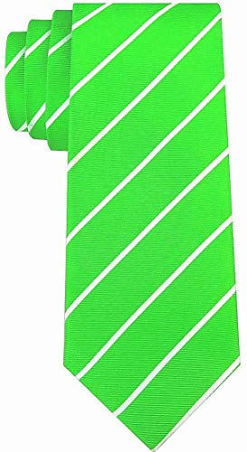 Pencil Stripe Ties for Men - Woven Necktie - Lime Green w/White ()