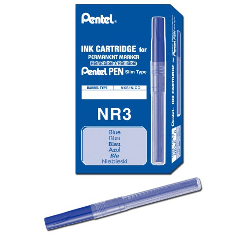 (Pentel Refill Ink for Handy Lines Permanent Marker, Blue Ink, Box of 12 (NR3-C))