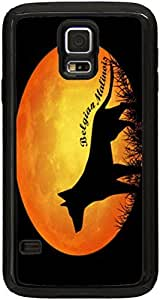 Rikki KnightTM Belgian Malinois Dog Silhouette By Moon Black Galaxy S5 Tough-It Case Cover for Galaxy S5 (Double Layer case with Silicone Protection and thick front bumper protection)