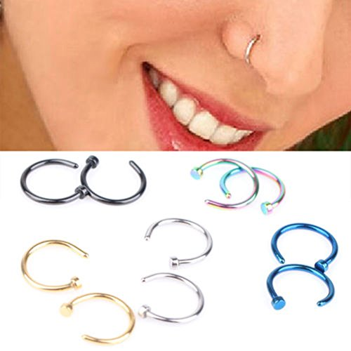 Chen10pcs Hot Colorful Stainless Steel Nose Open Hoop Ring Earring Body Piercing Studs Jewelry Set by Chen