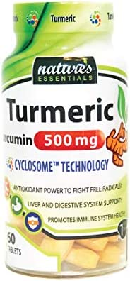 Liposomal Turmeric-Curcumin 500mg per pill Piperine Cyclodextrin Nature s Essentials Maximum Absorption Formula 2 Month supply NON-GMO Gluten-free Vegetarian Lab Certified USA