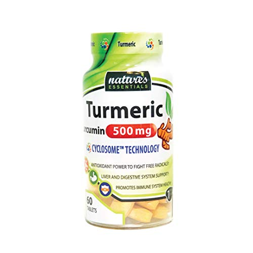 Liposomal Turmeric-Curcumin 500mg per pill Piperine Cyclodextrin Nature s Essentials Maximum Absorption Formula 2 Month supply NON-GMO Gluten-free Vegetarian Lab Certified USA