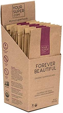 Your Super Forever Beautiful Travel Packs – Plant Based Anti-Aging and Skin Health, Natural Collagen, Organic Acai Berry Powder Fruit Blend with Essential Vitamins, Non-GMO – 10 Serving Packets