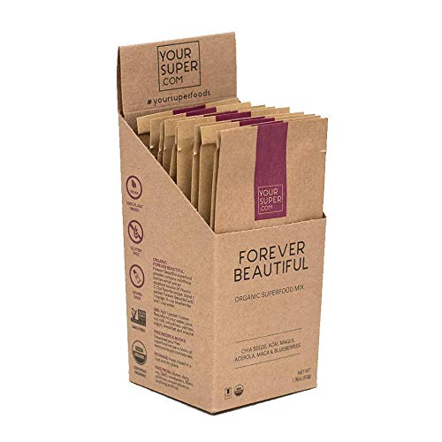 Forever Beautiful Travel Packs by Your Super   Plant Based Anti-Aging & Skin Health Superfood Mix   Powder Fruit Blend with Essential Vitamins & Minerals   Non-GMO, Natural Organic Ingredients