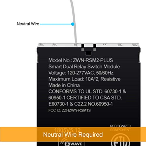 ENERWAVE Z-Wave Plus Dual Relay Switch Module, Z-Wave Relay, Hidden Smart Switch, In-Wall Micro Switch, NEUTRAL WIRE REQUIRED, ZWN-RSM2-PLUS, Black, 2-Pack (New Version) by ENERWAVE (Image #1)