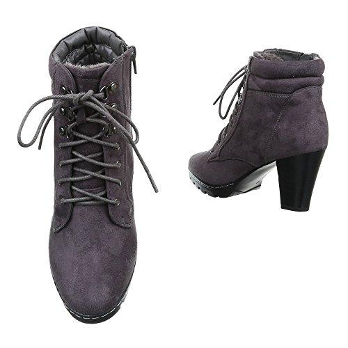 Ital-Design - Botas Militar Mujer gris