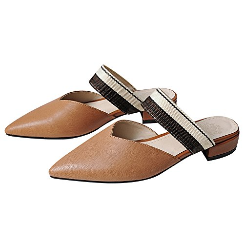 rismart Women's Backless Slip On Pointed Toe Dress Elegant Leather Slippers Mules Brown sbTnYQHB4t