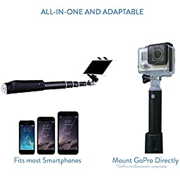 Selfie Stick, Premium Quality Bluetooth version by Zivachi. All-in-one Aluminium Monopod for all iPhones, Android phones, and GoPro(mount only). Lightweight and Portable. Foldable Secure Mount