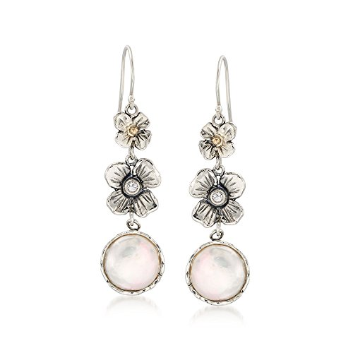 Ross-Simons 12mm Cultured Coin Pearl Floral Drop Earrings With White Topaz in Sterling and 14kt (Topaz Coin)