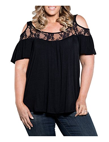 CutyKids Women Shirt Plus Size Hollow Out Lace Short Sleeve Casual Top Black 6XL