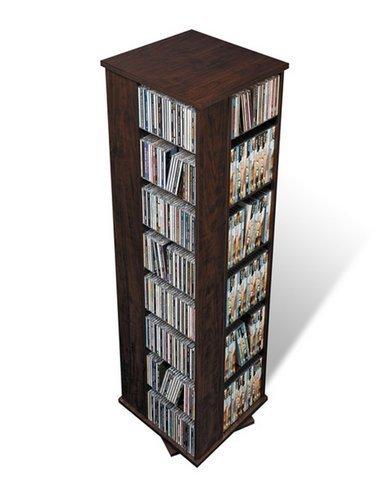 (Prepac Everett Espresso 4-sided Spinner Media Tower Shelf Storage Cabinet CD DVD Rack)
