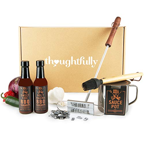 Thoughtfully Gifts, BBQ Grill Masters Gift Set, Includes a Collection of 2 Gourmet Sauces, Sauce Pot, Basting Brush, and Branding Iron