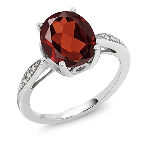 Oval Cut Garnet Ring - Gem Stone King Red Garnet and White Diamond 14K White Gold Women's Ring (2.54 Ct Oval Available in size 5, 6, 7, 8, 9)