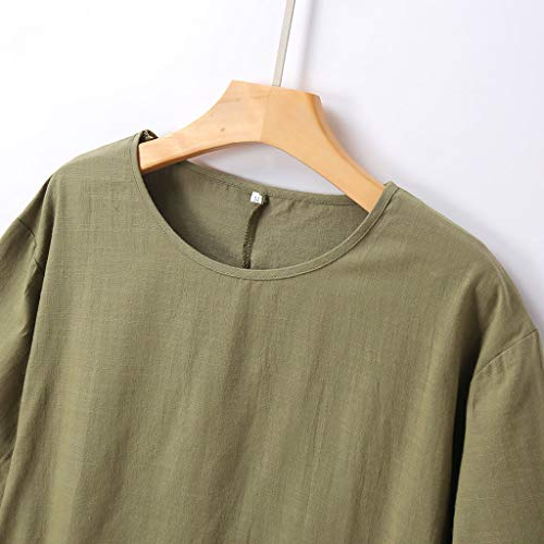 Alangbudu Women's Half Sleeve Tunic Dress V Neck Loose Swing Shift Linen Dresses Green by Alangbudu-Dresses (Image #4)