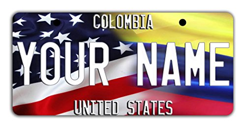 Colombia National Costume For Kids (BleuReign(TM) Personalized Custom Name Mixed USA and Colombia Flag Bicycle Bike Moped Golf Cart 3