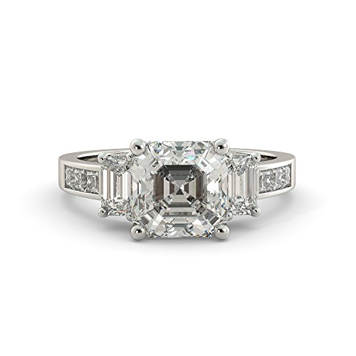 Asscher Cut Charles & Colvard Forever One Moissanite & Emerald, Round Natural Diamond Engagement Ring Your Choice of Solid 14k White, Yellow or Rose 3.32 ct